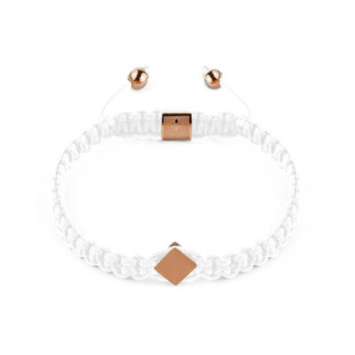 Cattaro - Rope White & Roségold Armband weiss Gravur - Unisex